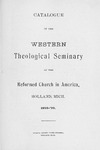 1898-1899. Catalog by Western Theological Seminary