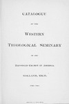 1900-1901. Catalog by Western Theological Seminary